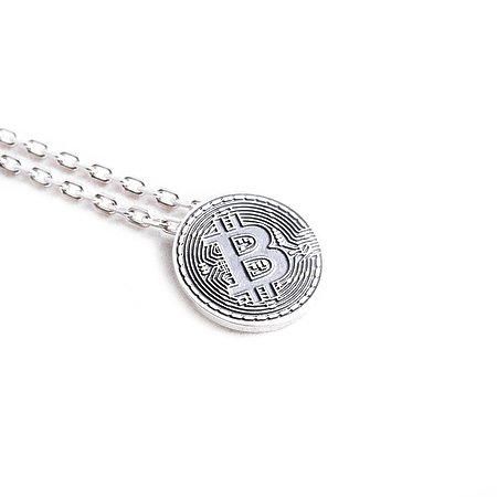 Bitcoin necklace with silver chain